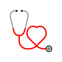 Medical stethoscope icon in the shape of a heart. Sign stethoscope isolated on white background. Vector illustration