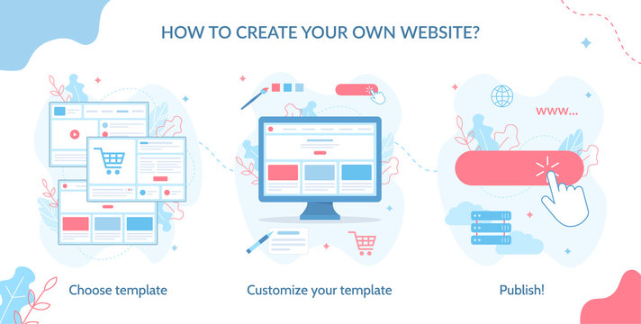 How to create your own website? Choose template, customize it and publish. Website builder concept. Web development. Flat vector illustration.