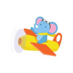 Cute cute animal elephant flies on a funny plane.