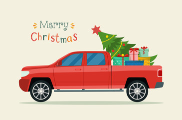 Pickup truck with christmas tree and gift boxes .  Merry christmas stylized typography.   Vector flat style illustration