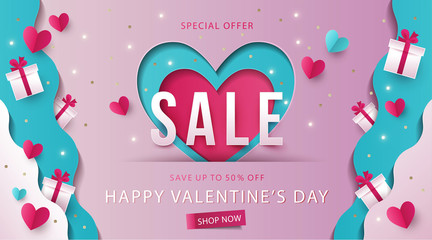 Happy Valentines Day Sale background, banner, poster or flyer design. Vector illustration with gift boxes on waves of love made of paper and hearts in origami style. Paper art, digital craft style