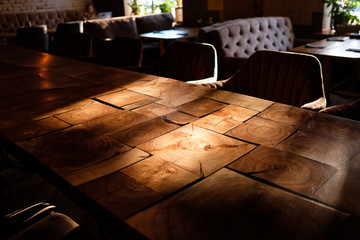 Empty wooden table in modern interior .