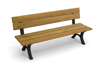 bench park wooden 3D