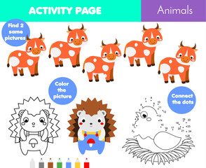 Fun activity page for kids. Educational children game set. Animals theme coloring page, connect the dots
