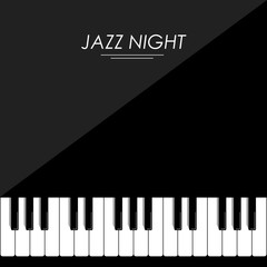 Jazz night piano black background card