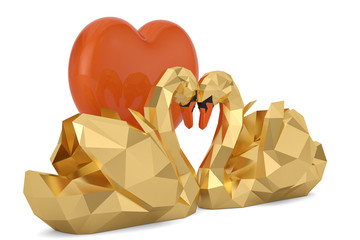 Two golden swans and heart isolated on white background. 3D illustration.