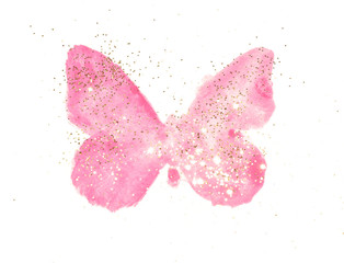 Golden glitter on pink watercolor butterfly in vintage nostalgic colors on white background