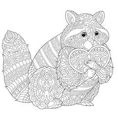 zentangle raccoon coloring page