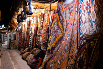 persian east culture carpet market at night