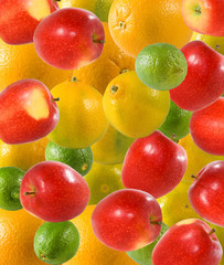 Fototapete -  lemon, apple and oranges closeup