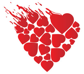 an image of a heart of red color of an unusual shape