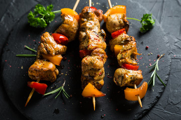 Juicy kebab of chicken and bell peppers