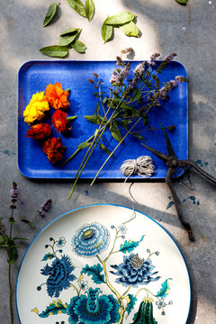 Still life with herbs and marigolds on blue tray