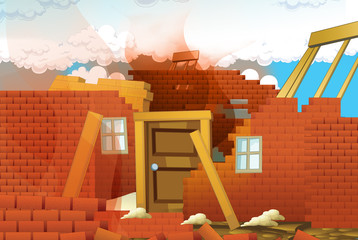 cartoon scene with destroyed house on construction site - illustration for children