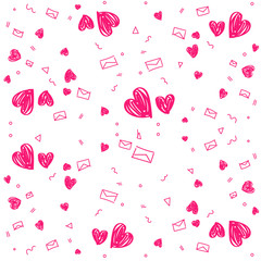 Hand drawn background with colored hearts. Seamless grungy wallpaper on surface. Abstract texture with love signs. Lovely pattern. Print for banner, flyer or poster. Colorful illustration