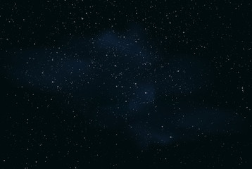 Realistic illustration of a dark night sky or space with stars and nebula, vector