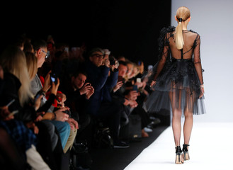 A model presents a creation by Irene Luft during the Berlin Fashion Week Autumn/Winter 2019/20 in Berlin