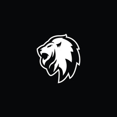 Outstanding professional elegant awesome black and white color lion head icon logo.