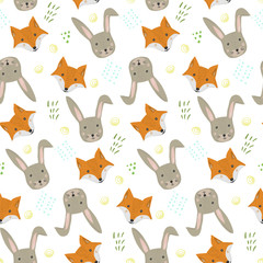 Cute cartoon seamless pattern with orange fox and gray hare heads with grass on white background. Funny hand drawn foxy and rabbit texture for kids design, wallpaper, textile, wrapping paper