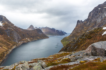 view of Senja Island from mountain Keipen