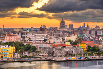 Havana, Cuba downtown skyline on the water just after sunset.