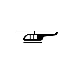 helicopter black icon silhouette on white vector - Vector