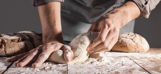 Chef making fresh dough for baking