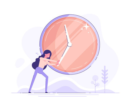 Businesswoman is trying to stop time. Deadline and time management concept. Modern flat vector illustration.