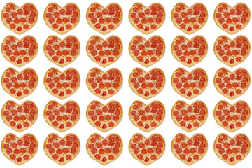 many pizza with shape of heart background isolated. valentines day concept. pizza background for 14 february