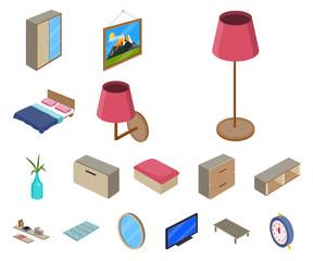 Vector illustration of bedroom and room logo. Set of bedroom and furniture stock vector illustration.