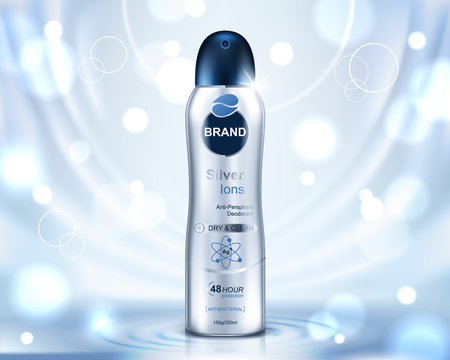 Cosmetic ads template, deodorant bottle and glitter elements on light blue background. Realistic vector illustration