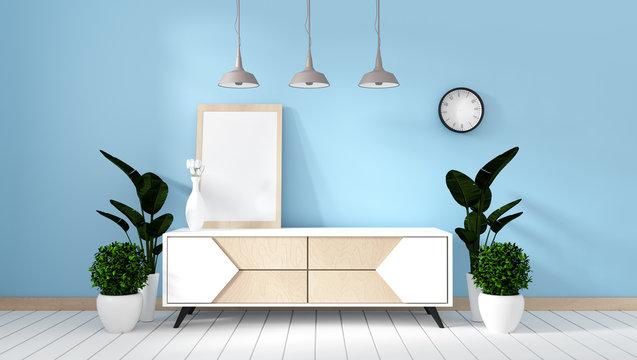 Tv shelf in mint room modern zen style - empty room interior - minimal design. 3d rendering