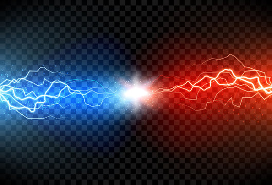 Lightning electric thunder storm light flash. Vector realistic lightning on black transparent background. Neon color energy electricity light flash or spark burst effect