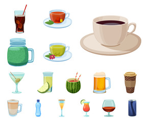 Vector design of drink and bar sign. Collection of drink and party stock symbol for web.