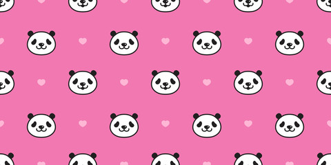 bear seamless pattern panda vector heart polar bear valentine bamboo teddy scarf isolated tile background cartoon repeat wallpaper doodle illustration