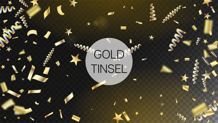 Modern Gold Explosion, Stars, Streamers, Tinsel Burst. Horizontal Bright Streamers Background. Cool Rich VIP Christmas, New Year, Birthday Party Holiday Border. Gold Explosion, Streamers Burst.