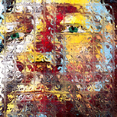 Man's face in square stained glass