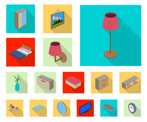 Vector design of bedroom and room symbol. Set of bedroom and furniture stock symbol for web.
