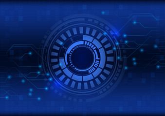 Abstract blue technology background with circle tech , Vector illustration
