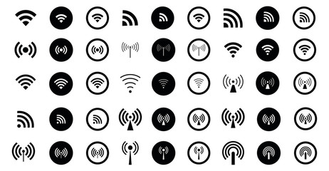 Set of 45 different Wifi icons. Vector wi-fi signal sign. Set of monochrome wireless symbols. EPS 10