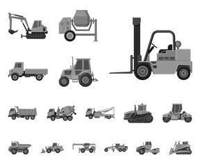 Isolated object of build and construction icon. Set of build and machinery stock vector illustration.
