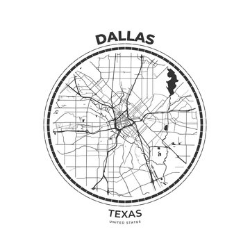 T-shirt map badge of Dallas, Texas