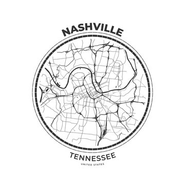 T-shirt map badge of Nashville, Tennessee