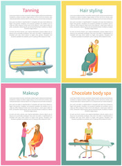 Tanning and Hair Styling Procedure Posters Vector