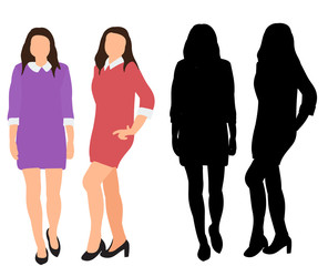 isolated, silhouettes of girl posing