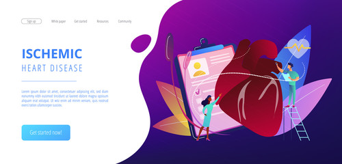 Doctor with stethoscope listening to huge heart beat. Ischemic heart disease, heart disease and coronary artery disease concept on white background. Website vibrant violet landing web page template.