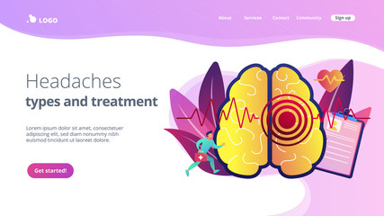 Huge brain with red circles pain epicenter and doctor running. Stroke and headache, oxygen-deprived brain and first aid concept on white background. Website vibrant violet landing web page template.