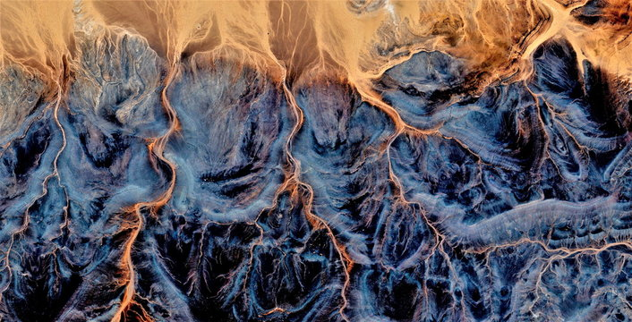 Electric storm, tribute to Pollock, abstract photography of the deserts of Africa from the air, aerial view, abstract expressionism, contemporary photographic art,