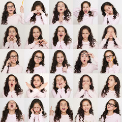 Set of different emotions of child girl