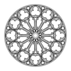 Gothic rose window. Popular architectural motiff in Medieval european art. Element for designing Coats of arms, medieval style illustrations. Black and white. EPS 10 vector illustration